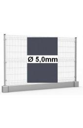 Zestaw ogrodzenie panelowe ocynk + RAL 7016 H =1230mm + podmurówka 25cm - Ø5mm oczko 50x200mm ( 1mb )