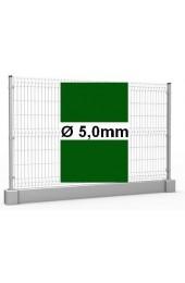 Zestaw ogrodzenie panelowe ocynk + RAL 6005 H =1230mm + podmurówka 25cm - Ø5mm oczko 50x200mm ( 1mb )